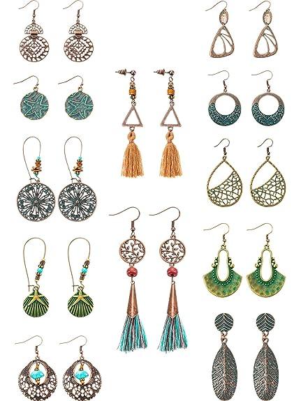 310d9282cd204 12 Pairs Fashion Metal Vintage Earrings Set with Dangle Pendant Tassel  Earrings Boho Retro Ear Stud Earrings Drop Hook Lightweight Statement  Earrings ...