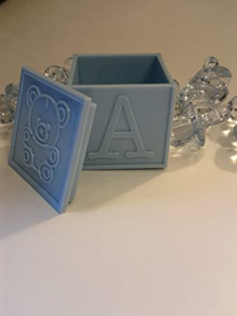 Amazon.com: Docena (12) Color Azul Pastel baby Block Favors ...