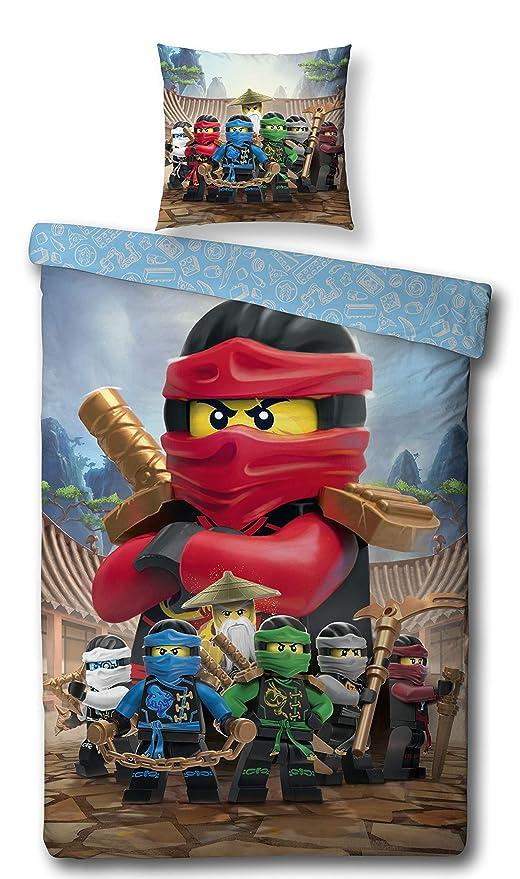 Character World – Juego de Ropa de Cama Reversible Lego Ninjago, 135 x 200 cm + 80 x 80 cm, linón 1475 algodón, 100% Castor/Canal de algodón, Ninjago ...