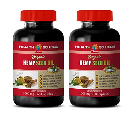 Immunity Booster for Adults – Hemp Seed Oil Organic 1000 mg – Dietary Supplement – Hemp Oil Pure Organic – 2 Bottles 240 Liquid Capsules