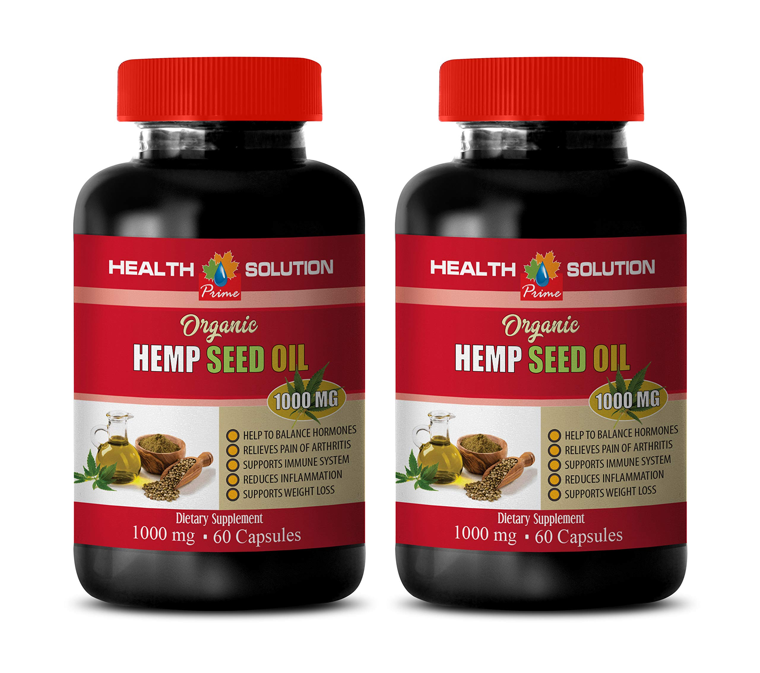 Stress Relief Natural Supplements - Hemp Seed Oil for Pain Relief - Hemp Oil for Anxiety Organic - 2 Bottles 240 Liquid Capsules