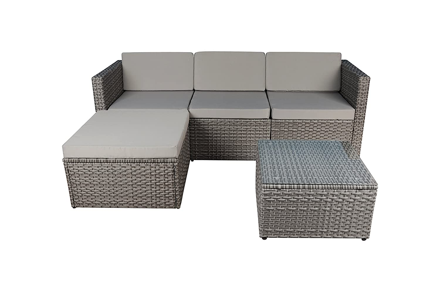 Modern Outdoor Garden, Sectional Sofa Set with Coffee Table - Wicker Sofa  Furniture Set (Grey/Grey)