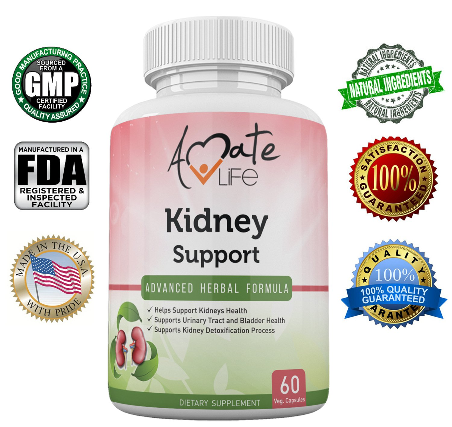 Kidney Support Advanced Herbal Formula- All-Natural Plant-Based Dietary Supplement- Cranberry Extract- Detox and Cleanse Body- Supports Healthy Kidney and Urinary Tract- 60 Vegetable Capsules