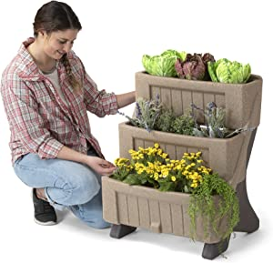 American Home 3-Level Tiered Vertical Garden Planter by Simplay3 for Herbs and Flowers, Indoor/Outdoor Raised Garden Bed for Patio or Balcony, 22.25 in. W x 27.5 in. H