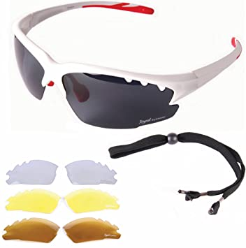 192fe8a557f Rapid Eyewear Luna White UV POLARISED SPORTS SUNGLASSES For Men   Women  With Interchangeable Tinted