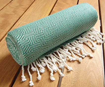 Alta calidad turco toalla tejida a mano verde diseño de diamante Peshtemal – algodón turco toalla