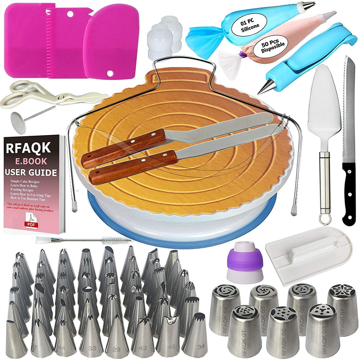 JHKJ Cake Decorating Supplies kit Including Cake Turntable Set Decorating Set Cake Decorating Tools Set,124pieces by JHKJ