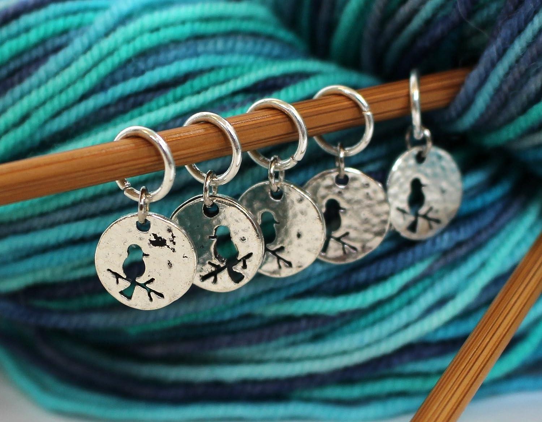 Set of 5 Bird Stitch Markers for Knitting Walnut Farm Designs