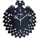 Random Clocks Jewel Peacock Round Wood Wall Clock (30 cm x 27 cm x 5 cm, Black)