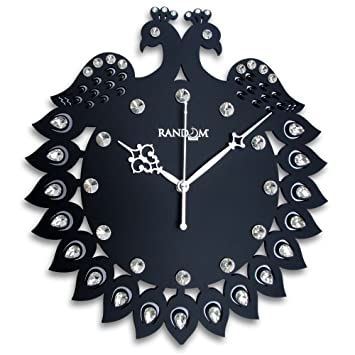 Buy Random Clocks Jewel Peacock Round Wood Wall Clock 30 cm x 27