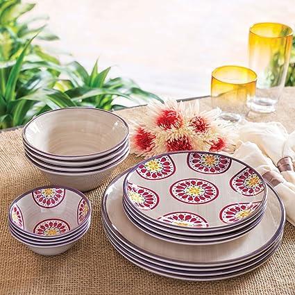 Melamine Dinnerware 16 Piece Set (Ivory)