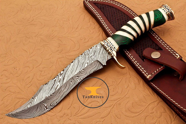 Amazon com: Hanadmade Damascus Steel Hunting Bowie Knife