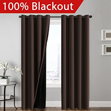 Amazon Flamingo P 100 BLACKOUT Curtain Set Thermal Insulated Energy Efficiency Window Drapery Lined Silky Performance Brown Color Grommet