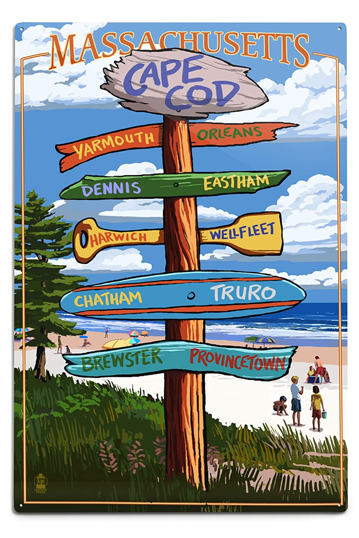 16x24 SIGNED Print Master Art Print - Wall Decor Poster Massachusetts 41282 Destinations Sign Cape Cod Version 2
