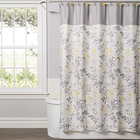 Saturday Knight Trellis Shower Curtain, Yellow/Gray