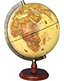 """Exerz Antique Globe (Large Dia 10"""" / 25 cm Diameter) with A Wood Base, Vintage Decorative Political Desktop World Globe - Rotating Full Earth Geography Educational - for Kids and Adults"""