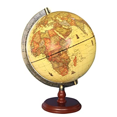 Exerz Antique Globe (Large Dia 10  / 25 cm Diameter) with A Wood Base, Vintage Decorative Political Desktop World Globe - Rotating Full Earth Geography Educational - for Kids and Adults