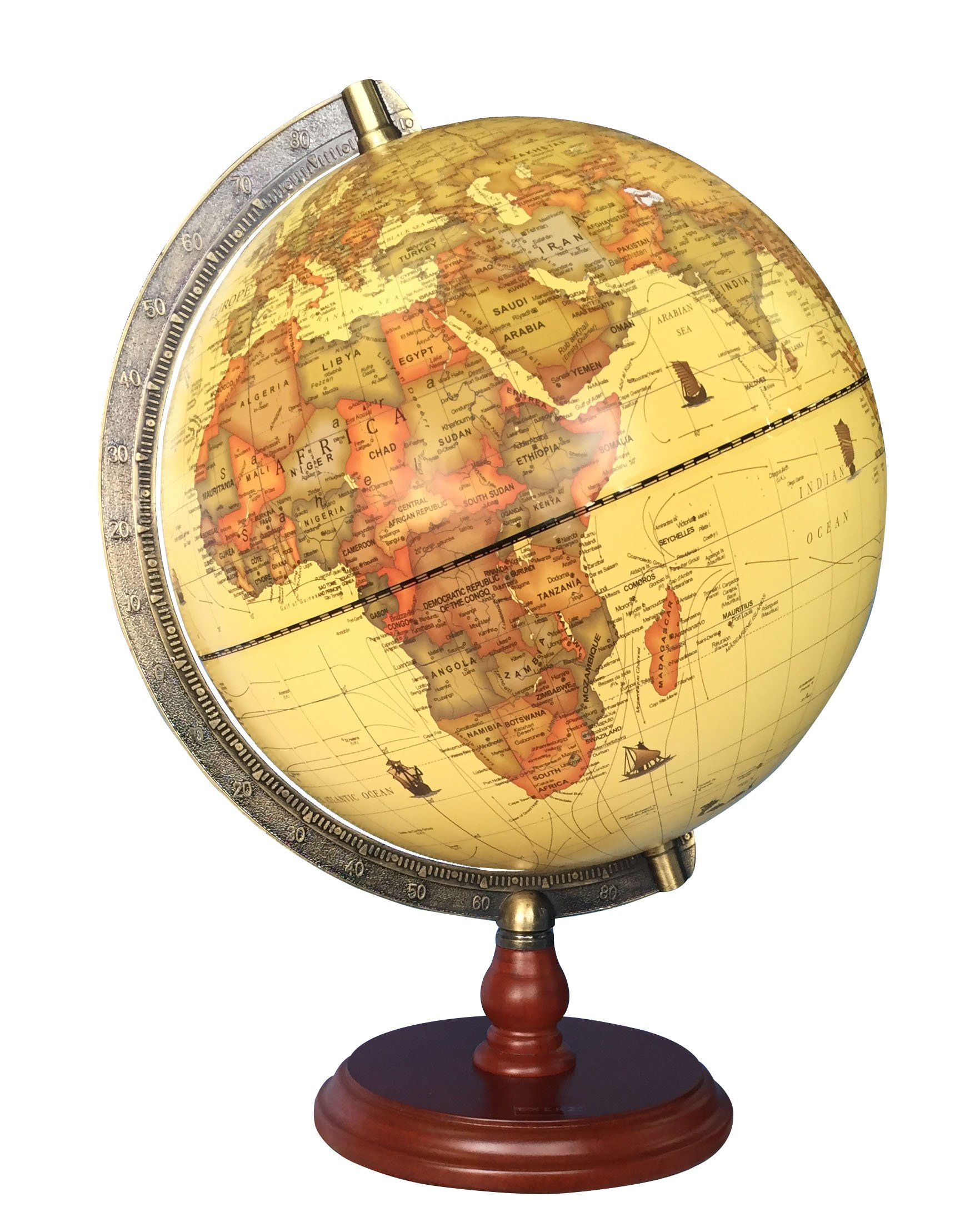 Antique globe with a wood base political desktop world globe large antique globe with a wood base political desktop world globe large dia 10 gumiabroncs Image collections