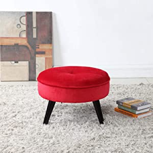 Divano Roma Furniture Round Tufted Velvet Footrest, Footstool, Coffee Table | Red Small/Large Space Home and Living Room, Circular Foot Rest/Stool/Ottoman