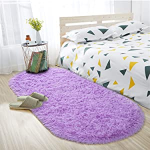 ISEAU Oval Fluffy Rug Carpets, Modern Plush Shaggy Area Rug for Kids Bedroom Extra Comfy Cute Nursery Rug Bedside Rug for Boys Girls Room Home Decor Mats, 2.6 x 5.3ft, Purple