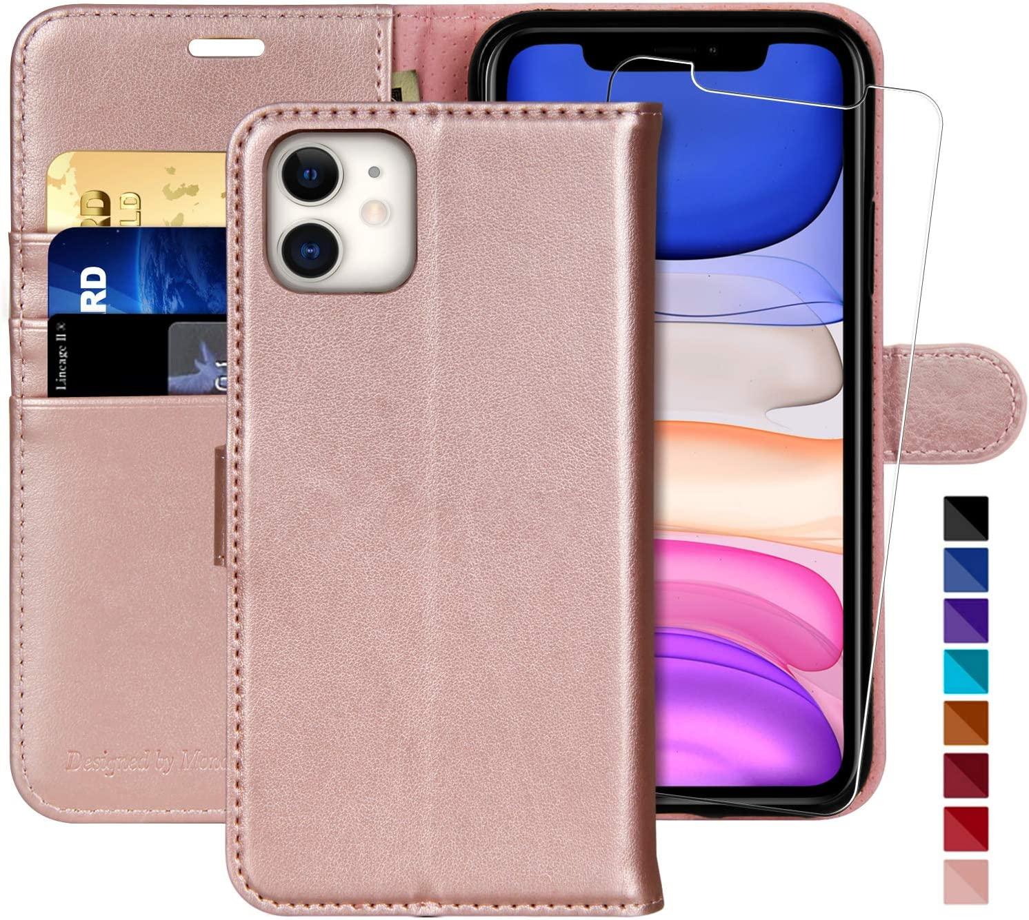 MONASAY iPhone 11 Wallet Case,6.1-inch Glass Screen Protector Included Flip Folio Leather Cell Phone Cover with Credit Card Holder for iPhone 11 RFID Blocking