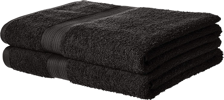 AmazonBasics Fade-Resistant Cotton Bath Towel - Pack of 2, Black