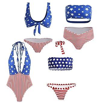 4dc55e62453ec Londony❤ Women American Flag Swimsuit Cute Push up Padded Bikini Set with Underwire  Bandeau Bikini Bathing Suits  Clothing
