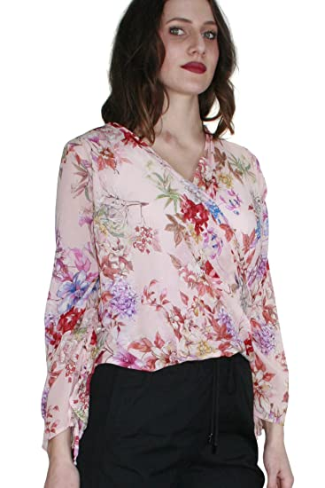 60c33063c7e2d7 KAOS Women s Long Sleeve Blouse Pink Fantasia Floreale  Amazon.co.uk ...