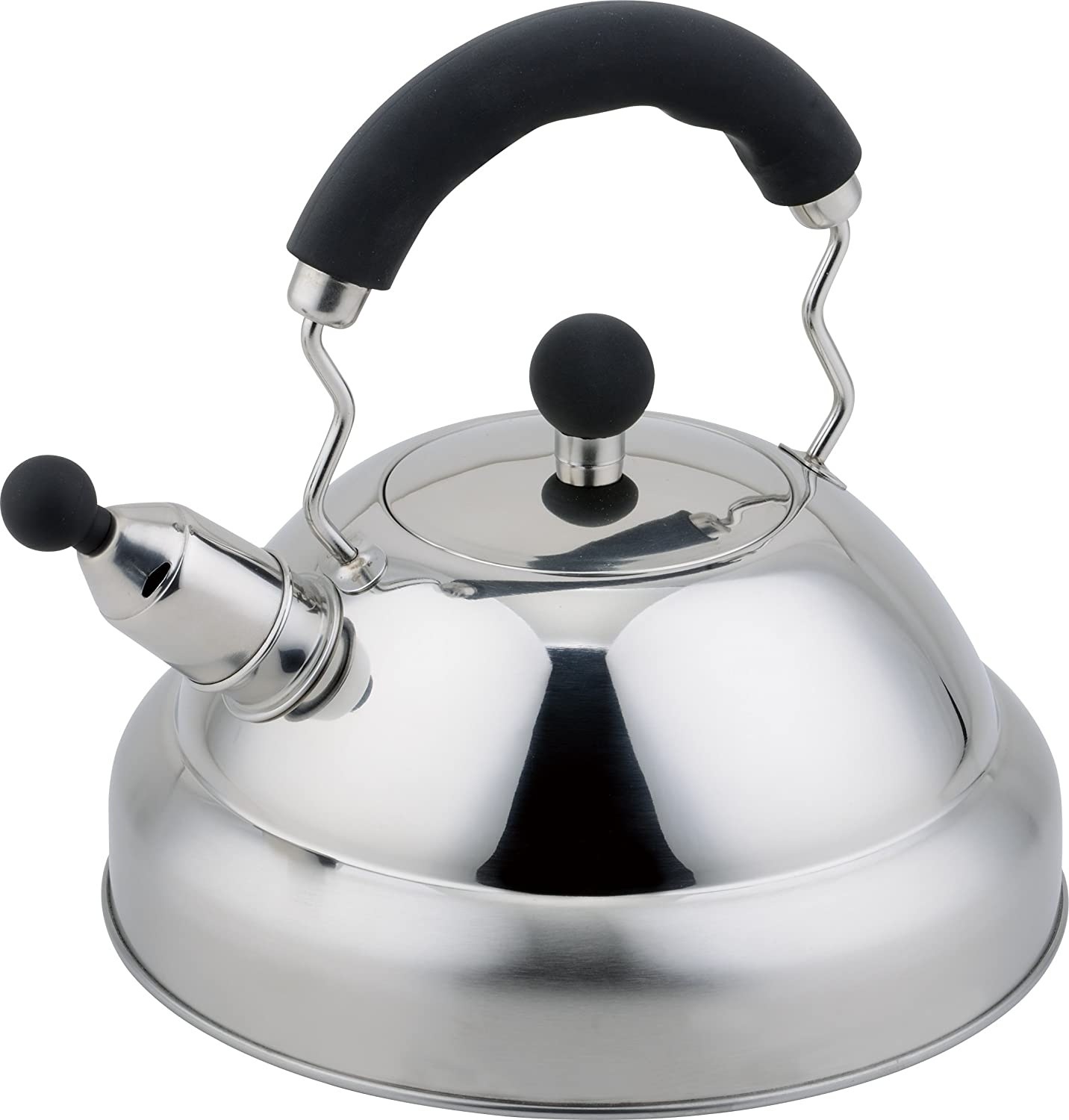 Buckingham Stove Top Induction Whistling Kettle 3 Litre - Stainless Steel Matt Finish with Black Soft Grip handle B & I International 17052