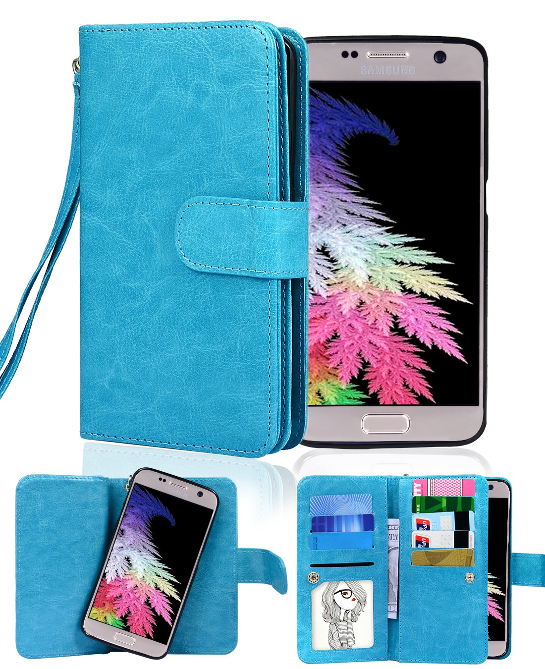 Galaxy S7 Wallet Case, Crosspace Samsung S7 Flip Wallet Cases Premium PU Leather 2-in-1 Protective Magnetic Shell with Credit Card Holder/Slots and Wrist Lanyard for Samsung Galaxy S7-Blue