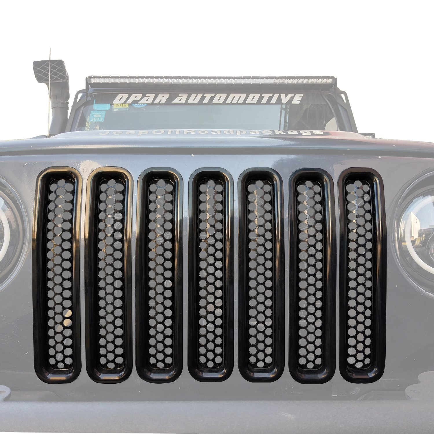 Black Front Grill Mesh Inserts Clip-in Honeycomb Grille Guards for 1997-2006 Jeep Wrangler TJ /& Unlimited Hooke Road Pack of 7