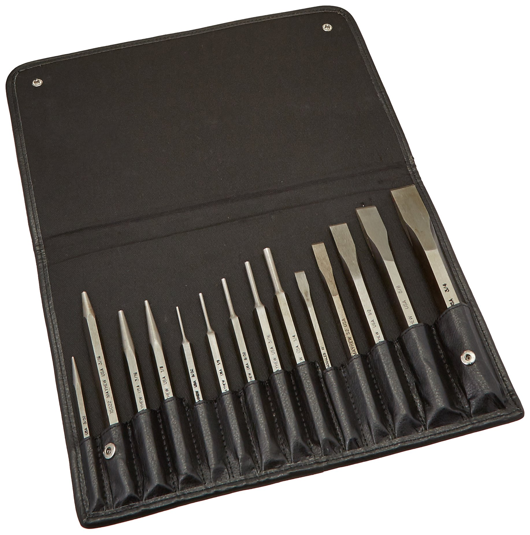 Mayhew Pro 15070 150-Line Punch and Chisel Set, 14-Piece