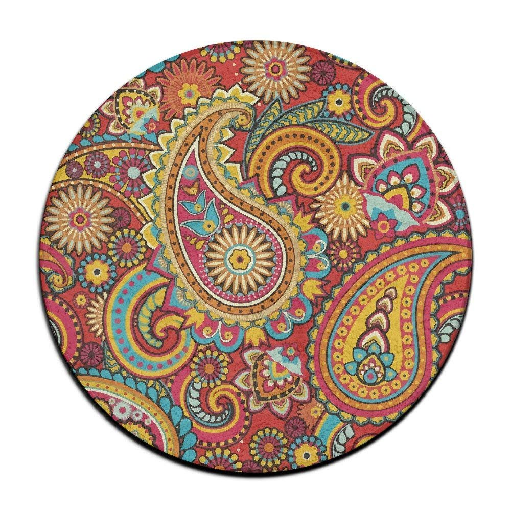 Floral Paisley Pattern Round Area Floor Mats Entrance Entry Way Front Door Mat Ground Rugs for Decor Decorative Men Women Office by Debigkco