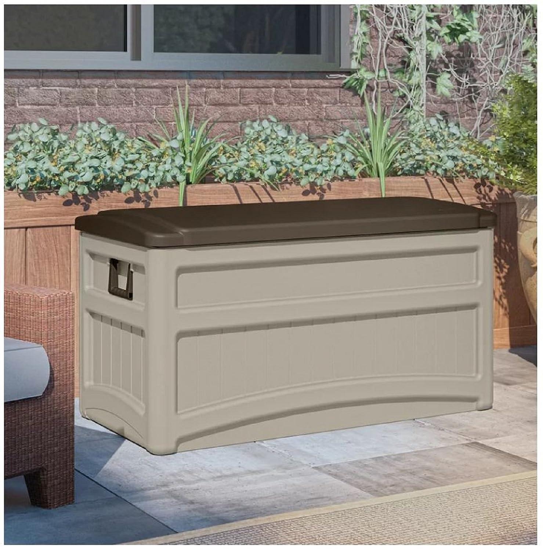 Amazon com patio furniture deck box premium suncast outdoor storage 73 gallon resin waterproof contemporary with wheels weatherproof design garden