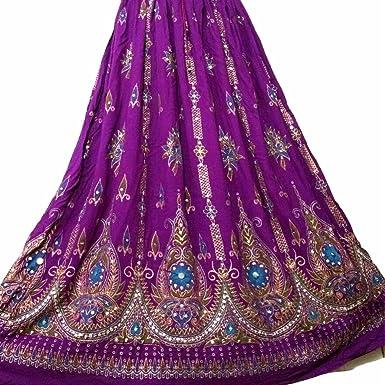 bb09ef769ff Stunning Ladies Indian Boho Hippie Gypsy Sequin Summer Sundress Maxi Skirt  M L (PURPLE)  Amazon.co.uk  Clothing