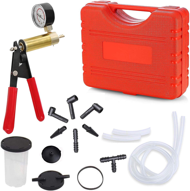 Brake Bleeder Kit Hand Held Vacuum Pump Test Set 2 in 1 for Automotive, Car, Truck, Motorcycle - Vacuum Pump Tester with Gauge Jar Adapters Protected Case - Brake Bleeding Kit