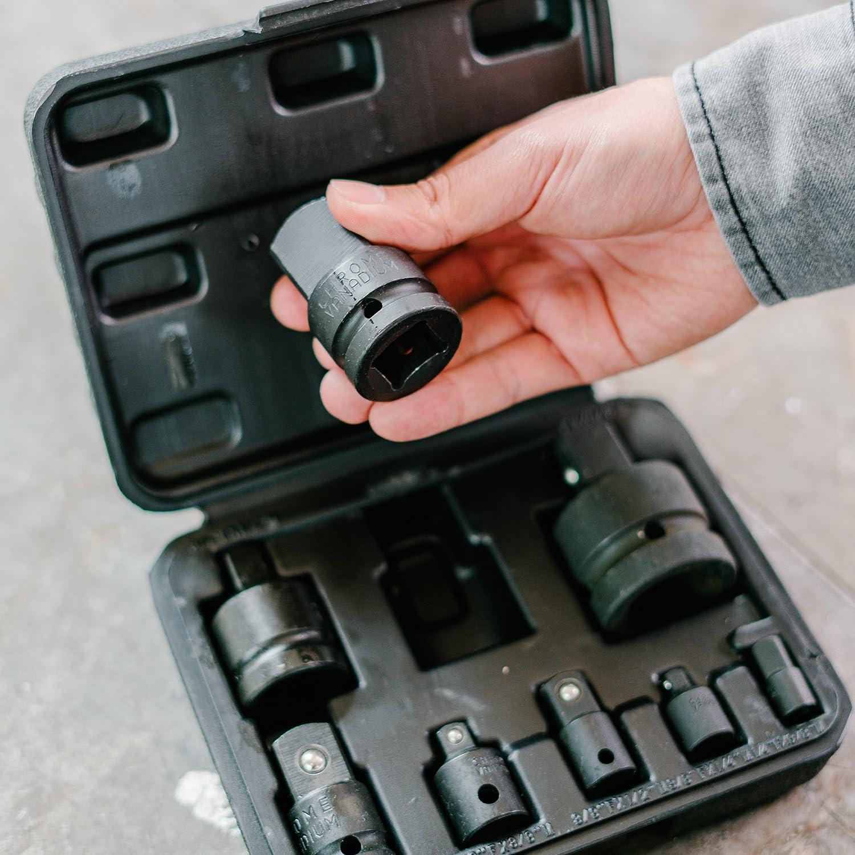 with storage case outer adapter attachment set inner chromium-vanadium steel WIESEMANN 80010 Powered adapter set 8pcs 1//4 3//8 1//2 /& 1 inch square enlargement adapter