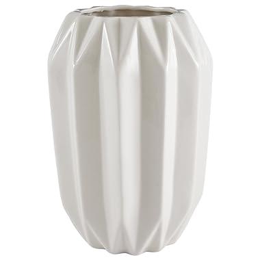 Rivet Modern Angled Stoneware Home Décor Flower Vase - 9 Inch, White