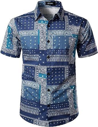 JOGAL - Camisa hawaiana con estampado de cachemira para hombre: Amazon.es: Ropa y accesorios