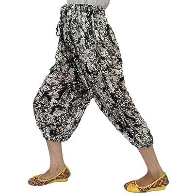 Élégant Abstract Imprimé Élastique Taille Chaîne Ajustable, 2Poches Rayonne Capri Pantalon