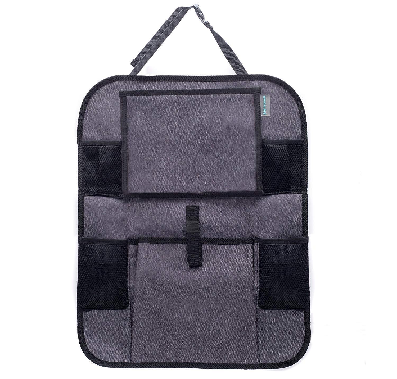 Kid Transit - Organizer per seggiolino Auto per Bambini, con Porta Tablet e portaoggetti, Colore: Nero, 25,4 cm