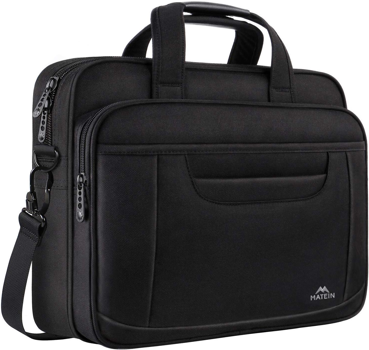 15.6 Inch Laptop Bag, Water Resisatant Briefcase Laptop Case for Men Women, Stylish Nylon Multi-Functional Computer Shoulder Bag for Business Travel School, Fit 15.6 15 Inch Laptop, Black
