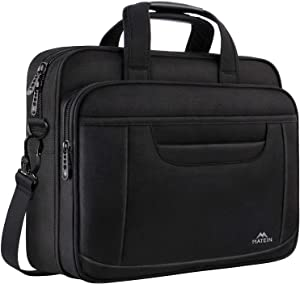 15.6 Inch Laptop Bag, Water Resisatant Briefcase Laptop Case for Men Women, Stylish Nylon Multi-Functional Computer Shoulder Bag for Business Travel School, Fit 15.6 15 Inch Laptop, Black