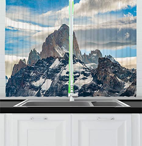 Brilliant Amazon Com Lunarable Argentina Kitchen Curtains Patagonian Best Image Libraries Sapebelowcountryjoecom