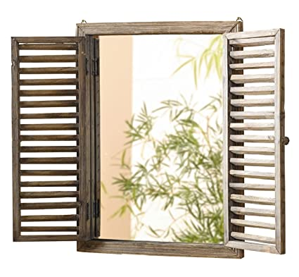 Amazon.com: Shuttered Mirror with Frame - Rustic Mirror with Wooden ...