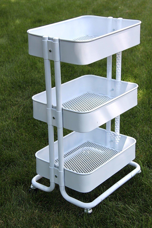 Royal Wagon Home Kitchen Bedroom Garden Storage Utility Rolling Organization on Wheels Cart (White)