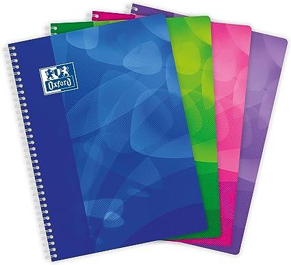 Oxford – Lote de 5 cuadernos con tapas de polipropileno, 160 páginas A4 grandes, cuadriculadas, colores aleatorios: Amazon.es: Oficina y papelería