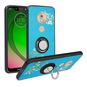 Funda para Motorola Moto G7 Play,Fashion Design [Antigolpes] con 360 Anillo iman Soporte, Resistente a los arañazos TPU Funda Protectora Case Cover ...