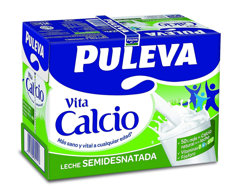 Puleva Vita Calcio Leche con Calcio Semidesnatada - 6 x 1 L ...