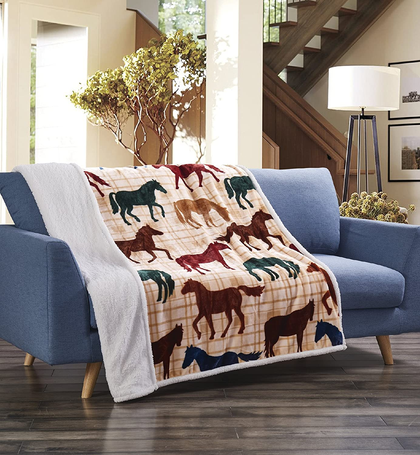 "Virah Bella Colorful Horses Beige Plaid Flannel Throw Blanket with Sherpa Backing 50"" x 60"""